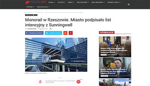 Monorail w Rzeszowie. Miasto podpisało list intencyjny z Sunningwell