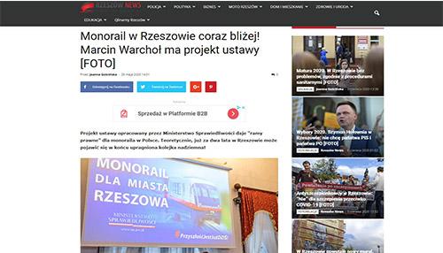Monorail w Rzeszowie coraz bliżej! Marcin Warchoł ma projekt ustawy