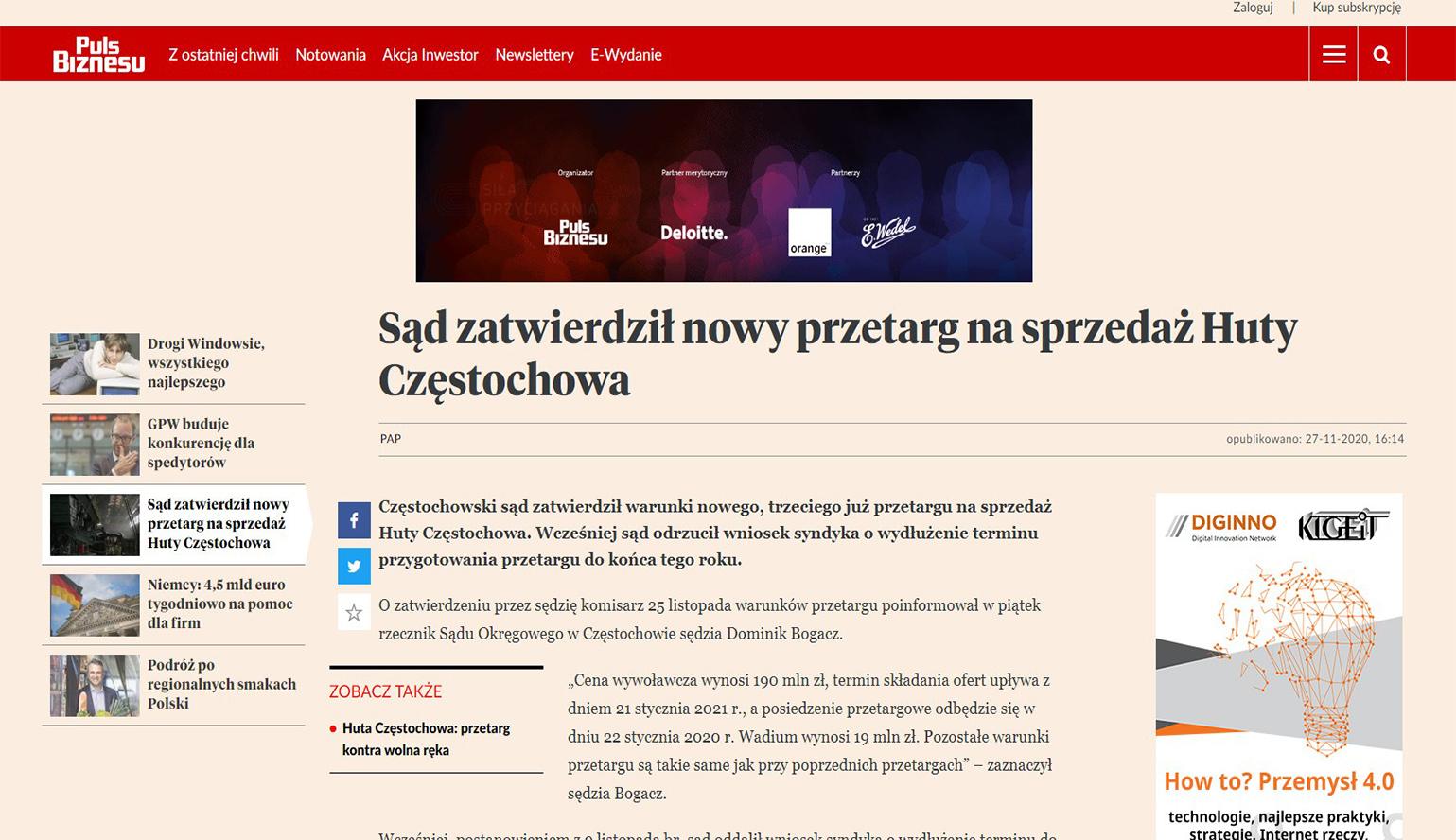 Sąd zatwierdził nowy przetarg na sprzedaż Huty Częstochowa