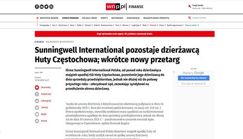 Sunningwell International pozostaje dzierżawcą Huty Częstochowa; wkrótce nowy przetarg