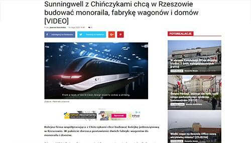 Sunningwell z Chińczykami chcą w Rzeszowie budować monoraila, fabrykę wagonów i domów