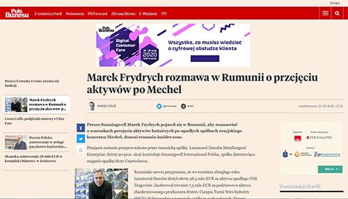 Marek Frydrych rozmawa w Rumunii o przejęciu aktywów po Mechel